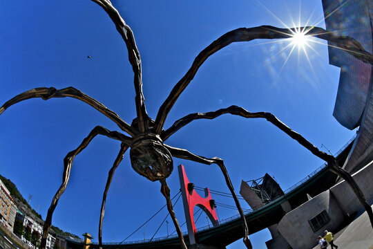 Wide angle view of Maman Spider, Red Arches, helicopter and starburst, Guggenheim Museum Bilbao, Spain