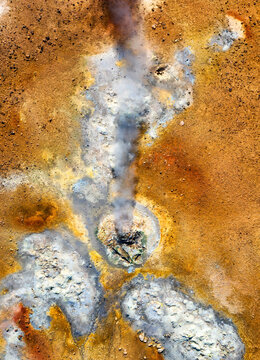 Aerial view on Iceland. Aerial landscape above geysers valley. Icelandic landscape from air. Famous place. Travel Icelandic image