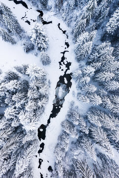 Winter chill. Natural winter landscape from air. Aerial view on river and forest in winter time. Forest under snow. Landscape from air.