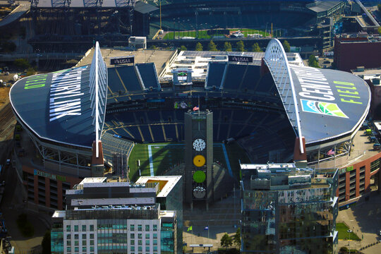Seattle, USA, August 31, 2018: Aerial view of the CenturyLink Field and the Safeco Field, the main stadiums of Seattle.