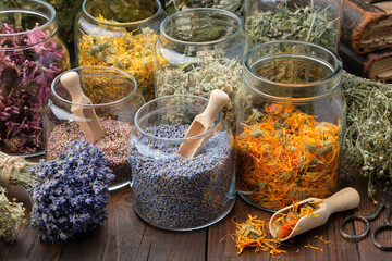 Glass jars of dry lavender and calendula flowers. Jars of dry medicinal herbs for making herbal...