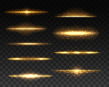 Gold glowing lines with light effects realistic vector design. 3d golden sparks, flares and sparkling glitters, shining lines with bright flashes and yellow particles on transparent background