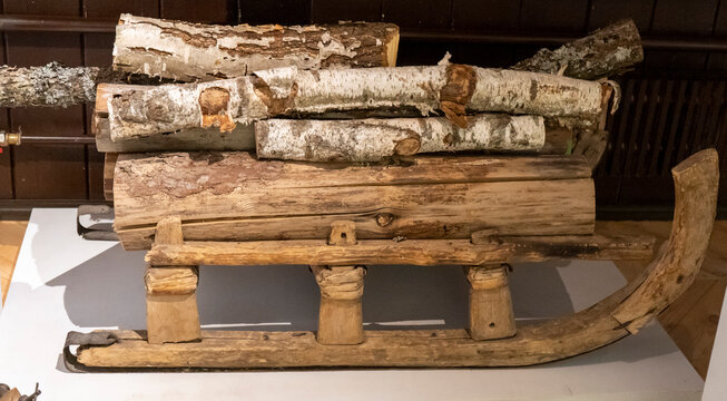Real Antique Vintage Sled With Firewood. Retro Style.