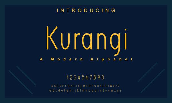 Kurangi font. Elegant alphabet letters font and number. Lettering Minimal Fashion Designs. Typography fonts regular uppercase and lowercase. vector illustration