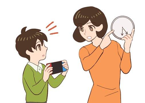 子供のゲームの時間を指定するお母さんのイラスト