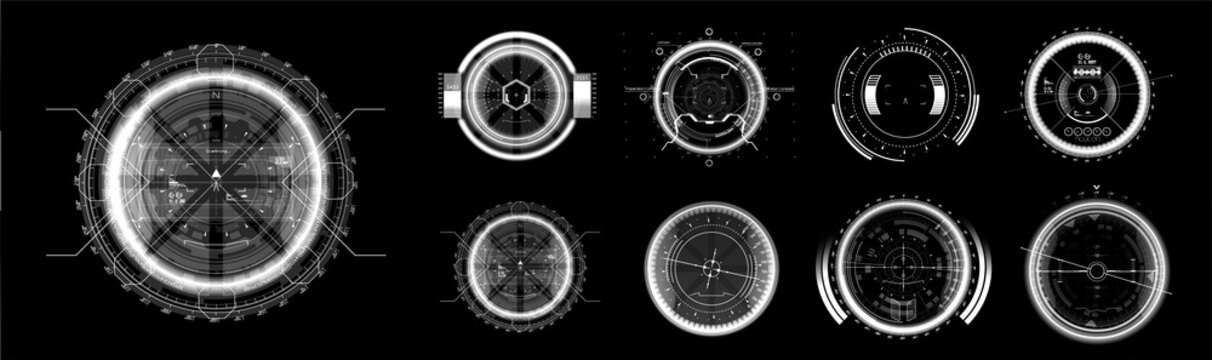 FUI black and white elements. Military crosshair in gun. HUD aim of sniper weapon or futuristic game target. UI, GUI virtual gadgets. Template - viewfinder, sniper score, optical aim HUD and other.