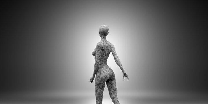 3D Illustration of a concrete female statue