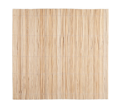 Bamboo mat isolated on white background. Top view.
