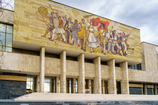 TIRANA,ALBANIA/DECEMBER 11,2017:National History Museum of Albania. The largest museum in the country. Opened in 1981