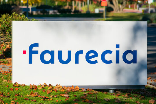Faurecia sign, logo on signpost at Silicon Valley headquarters of a French global automotive supplier. - Sunnyvale, California, USA - 2020
