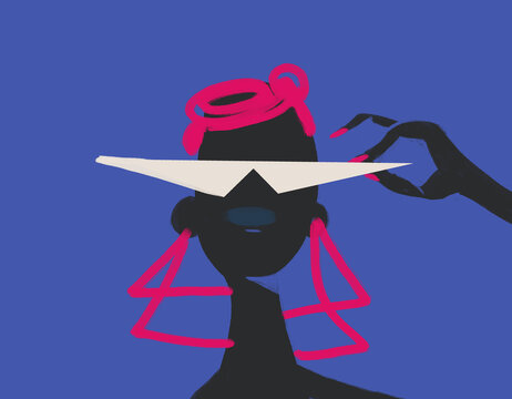 Minimalist Of African Woman portrait with Fashion glasses. isolated on blue with pink hair and nail. For print and poster.