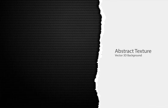 Vector torn paper edges on carbon fiber texture. Dark background