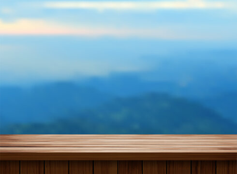 Vector wood table top and blurred of mountain landscape
