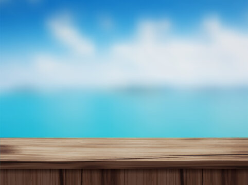 Vector wood table top and blurred of blurred beach background