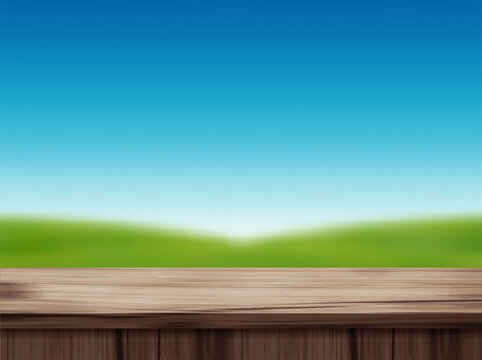 Vector wood table top and blurred of blue sky landscape