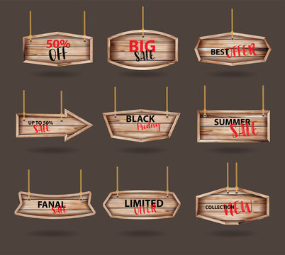 Vector wooden signs hanging on a rope and chain, With price tags labels collection sale banners design