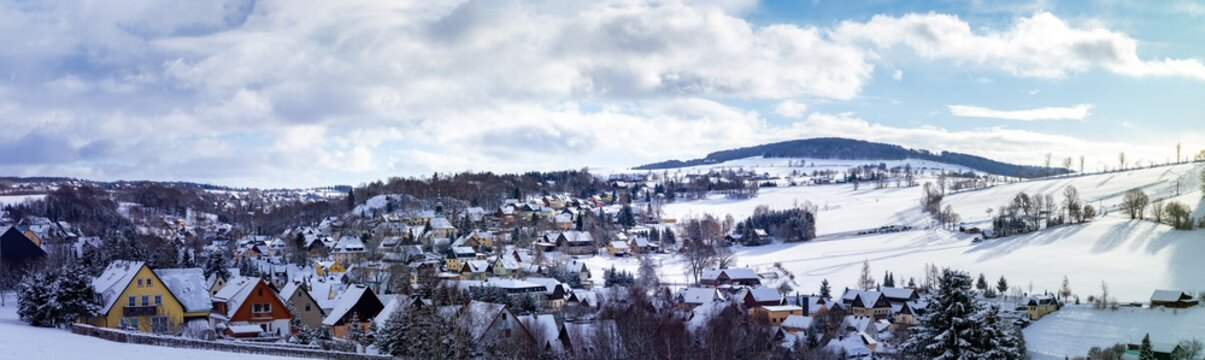 Panorama view Seiffen in Winter Saxony Germany ore mountains.