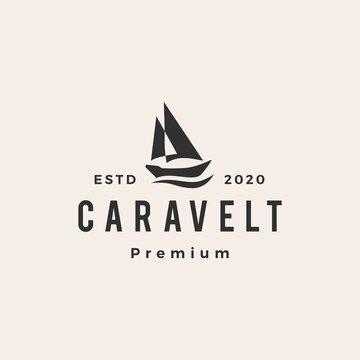 caravel boat hipster vintage logo vector icon illustration