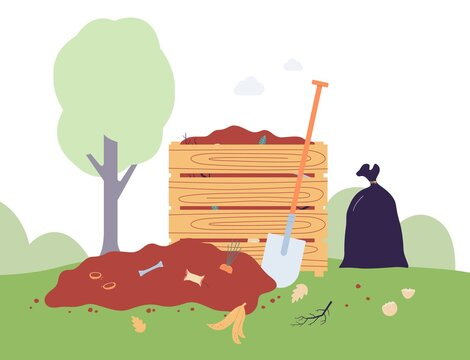 Vector flat illustration of compost food box or bin in the garden