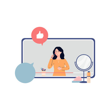 Woman blogger or makeup artist recording video flat vector illustration isolated.
