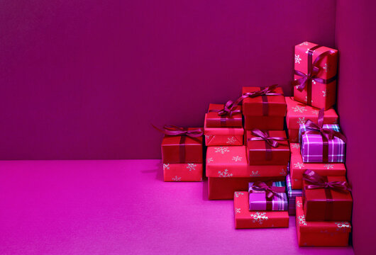 Holiday wrapped present boxes, Christmas gifting and shopping concept,