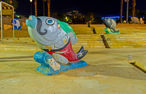 The pirate fish sculpture, on Feb 23, 2016 in Eilat, Israel