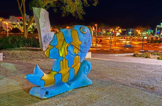 The lucky fish sculpture in coastal park, on Feb 23, 2016 in Eilat, Israel
