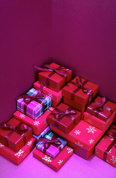 Holiday wrapped present boxes, Christmas gifting and shopping concept