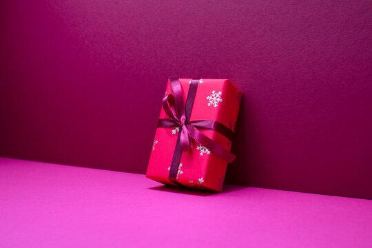 Christmas present or gift box diagonal view