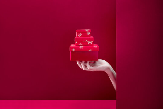 Christmas gifts giving or winter holidays time delivery concept