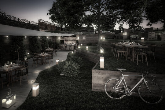 Project of Garden Pub & Restaurant - black and white 3d visualization