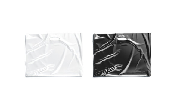 Blank big black and white die-cut plastic bag mock up