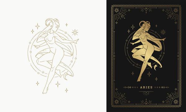 Zodiac pisces female character horoscope sign line art silhouette design vector illustration