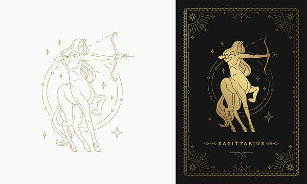 Zodiac sagittarius girl character horoscope sign line art silhouette design vector illustration