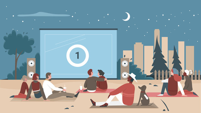 People in outdoor cinema vector illustration. Cartoon man woman couple characters or family with child sitting in open air cinema theater together, watching movie, digital cinematography background