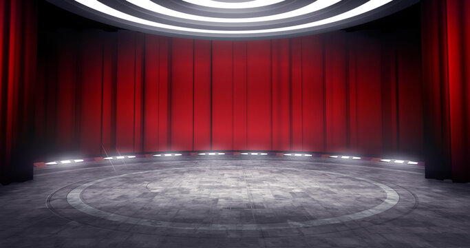 Full shot of a virtual theater background with red curtain, ideal for live shows or music events. 3D rendering backdrop suitable on VR tracking system stage sets, with green screen