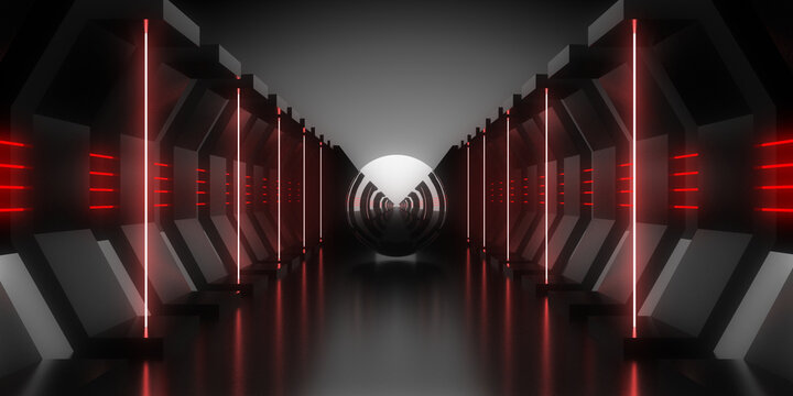3D abstract background with neon lights. checkmark conceptl .space construction . 3d illustration
