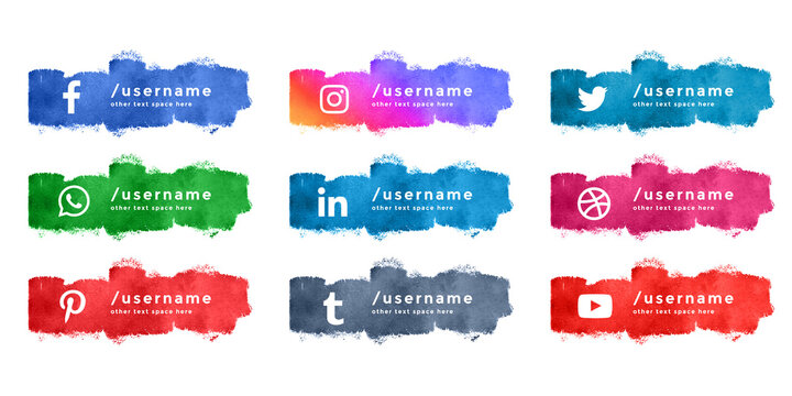 abstract watercolor social media lower third collection