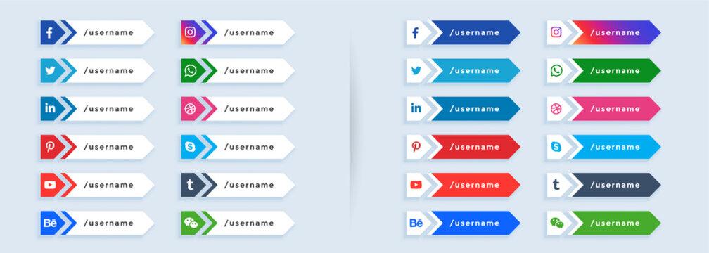 big set of social media lower third