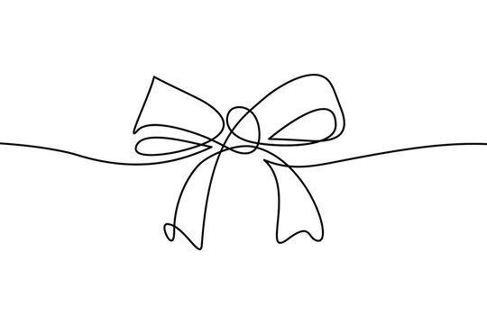 Decorative ribbon bow in continuous line art drawing style. Festive bow-knot minimalist black linear design isolated on white background. Vector illustration