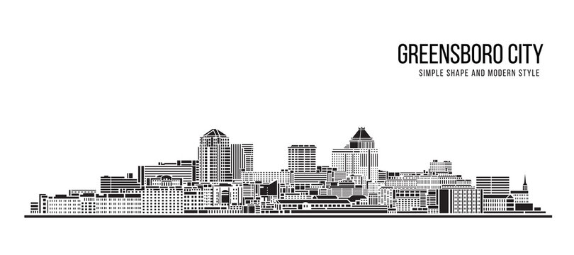 Cityscape Building Abstract Simple shape and modern style art Vector design - Greensboro city