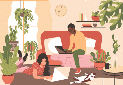 A family of African American man and European girl work from home on laptops. Freelancers work in a cozy room with house plants and a cat. Boho style flat vector illustration.