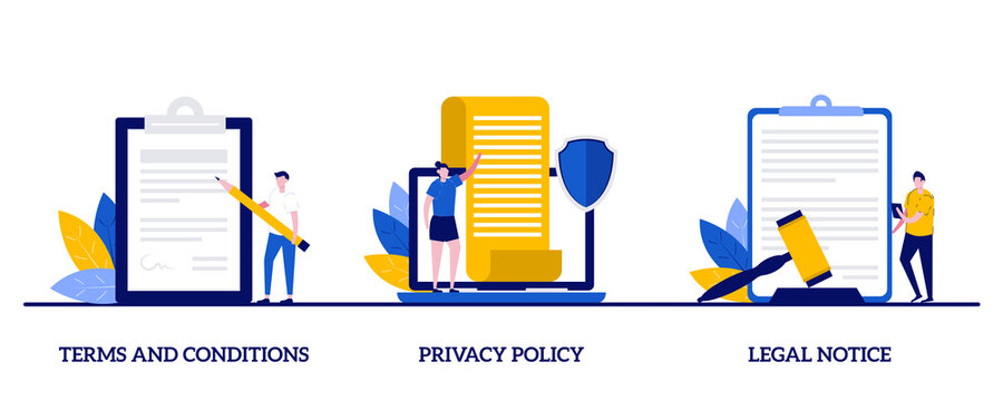 Terms and conditions, privacy policy, legal notice concept with character. Business contract signing abstract vector illustration set. Corporate document, agreement checking, data protection metaphor