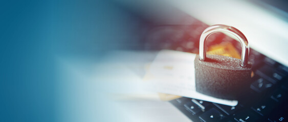 Fototapeta Online payments, secure online shopping and data encryption security concept with padlock