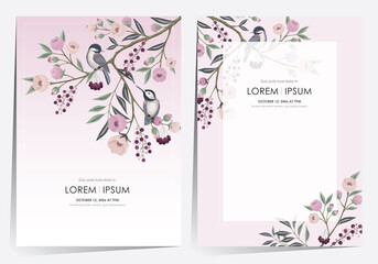 Wall Mural - Vector illustration of a beautiful floral frame set little birds. Design for cards, party invitation, Print, Frame Clip Art and Business Advertisement and Promotion