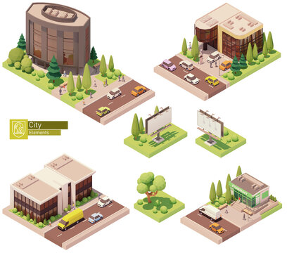 Vector isometric buildings and street elements set. Houses, homes and offices. Pharmacy store building, Billboard, trees cars and people. Isometric city or town map construction elements