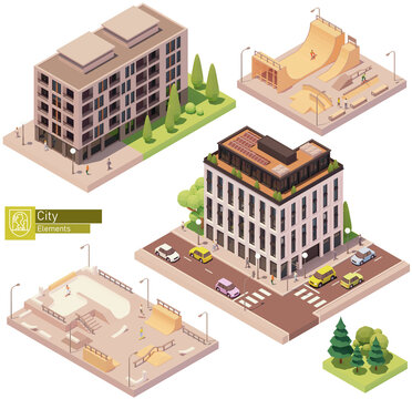 Vector isometric buildings and skatepark. Houses, homes and offices. High-rise buildings, trees, cars and people. Modern concrete skatepark with skateboarders. Isometric city map construction elements