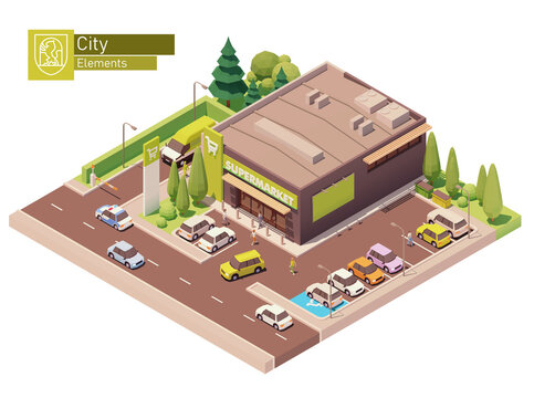 Vector isometric supermarket building. Grocery store building exterior. Big shop with car parking. Isometric city or town map construction elements