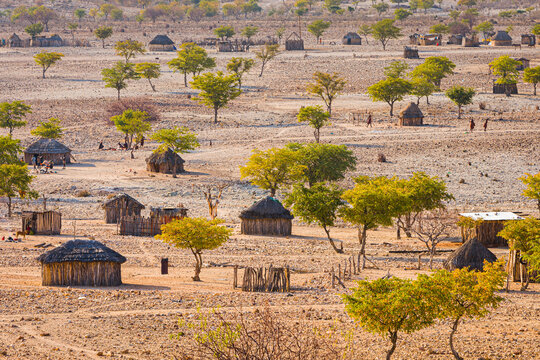 Himba village with traditional huts in north Namibia