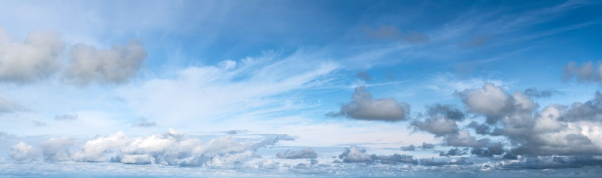 Wide panorama of blue cloudy sky